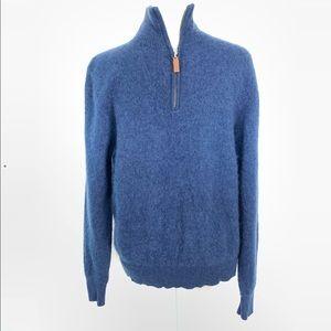 Alan Flusser | Blue Cashmere Half-Zip Sweater Med
